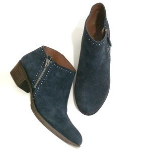 Lucky Brand Benna Suede Navy Blue Booties